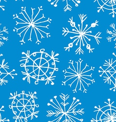 Seamless pattern with snowflakes on light blue vector image