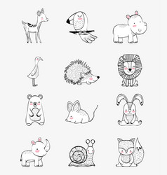 set cute wild animals character vector image