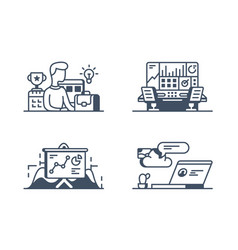set management icons vector image