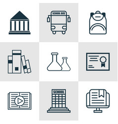Set of 9 education icons includes certificate vector