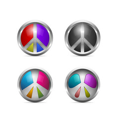 set of colorful metallic peace icons vector image