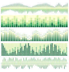 set of green sound waves vector image