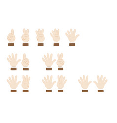 set of hands gesturing and showing numbers vector image