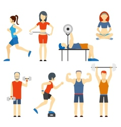 Set of people exercising at the gym vector image