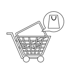 shopping cart with television in black and white vector image