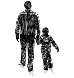 Sketch a man with his little son walking vector