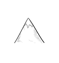 snow mountain peak hand drawn outline doodle icon vector image