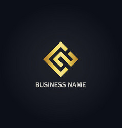 square line business gold logo vector image