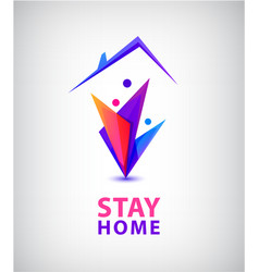 stay home logo family sitting home vector image