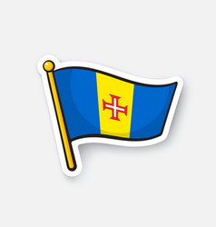 sticker national flag madeira vector image