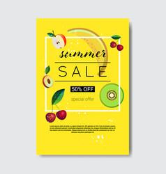 summer sale fresh fruits lettering badge design vector image