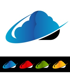 Swoosh Cloud Computing Logo Icons vector