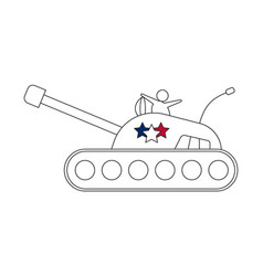tank line icon with stars vector image