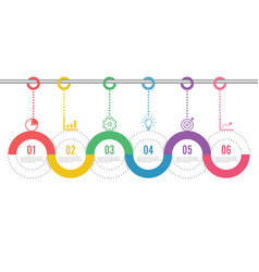 template timeline infographic colored horizontal vector image