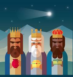 three magic kings orient cartoons vector image