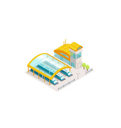 Train station railway public building with trains vector