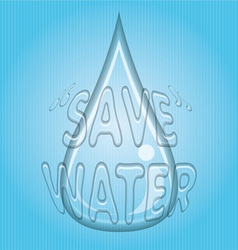 Transparent Water Drop with Save Water Word vector