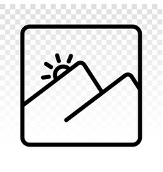 Two mountain peaks with sunrise - line art icon vector