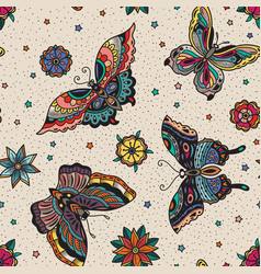 Vintage style traditional tattoo flash butterflies vector