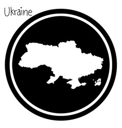 white map of ukraine on black circle vector image