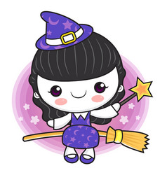 Witch mascot fly on a broom halloween day vector