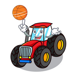 With basketball tractor character cartoon style vector