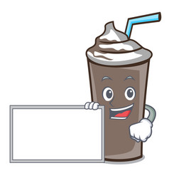 with board ice chocolate character cartoon vector image