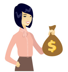Young asian business woman holding a money bag vector