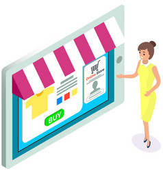 young woman shows online clothing store selling vector image