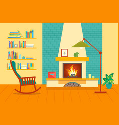 cartoon fireplace interior for house vector image vector image