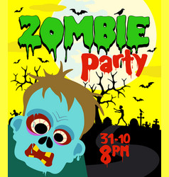 halloween party background with zombie vector image vector image