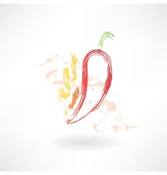 hot pepper grunge icon vector image