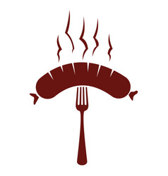 sausage grill label vector image