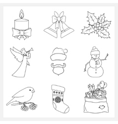 Set christmas thin line icons vector