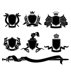 Set of heraldic black emblems vector image