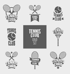 set of tennis club logos badges or labels design vector image