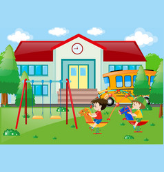 two boys playing at school vector image
