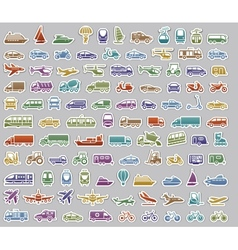 104 Transport icons set retro stickers vector image