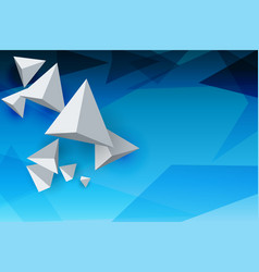 abstract whirte triangles 3d blue sky background vector image vector image