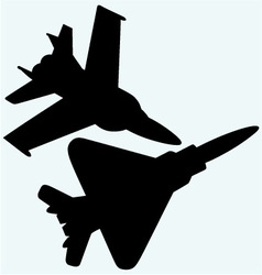 An F 18 jet fighters flying in the sky vector image