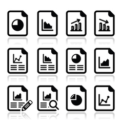 Document with pie chart graph icons set vector image