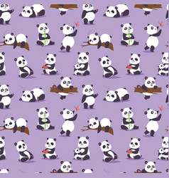 panda bear cude character different pose vector image vector image