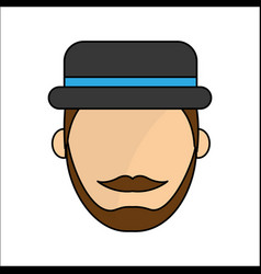 people avatar face men with hat icon vector image vector image