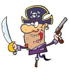 Pirate Brandishing Sword and Gun vector image vector image