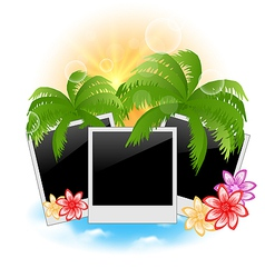 Set photo frame with palms flowers seascape vector image vector image