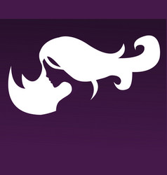 Silhouette of a girl in profile with long hair vector