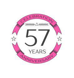 Fifty seven years anniversary celebration logo vector