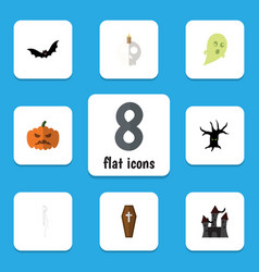 flat icon halloween set of cranium fortress vector image