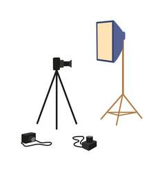 Flat professional photo equipment set vector