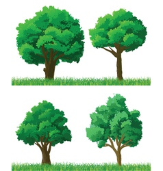 Green trees and grass set vector